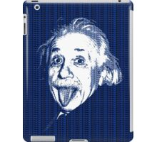 Albert Einstein Portrait pulling tongue and blue  text background  iPad Case/Skin
