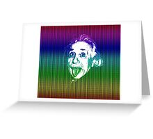 Albert Einstein Portrait pulling tongue and multicolour text background  Greeting Card