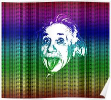 Albert Einstein Portrait pulling tongue and multicolour text background  Poster