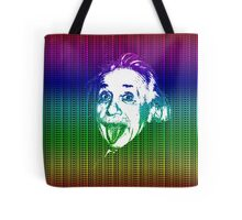 Albert Einstein Portrait pulling tongue and multicolour text background  Tote Bag