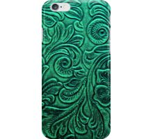 Emerald Green Tooled Leather Floral Scrollwork Design iPhone Case/Skin