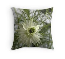White Love-in-a-Mist Throw Pillow