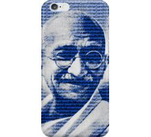 Mahatma Gandhi portrait with blue background  iPhone Case/Skin