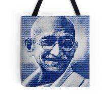 Mahatma Gandhi portrait with blue background  Tote Bag