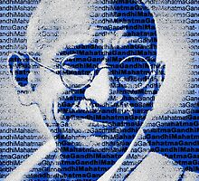 Mahatma Gandhi portrait with blue background  by yin888