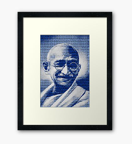Mahatma Gandhi portrait with blue background  Framed Print