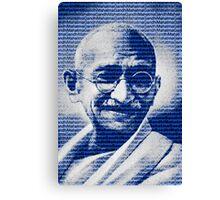 Mahatma Gandhi portrait with blue background  Canvas Print