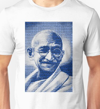 Mahatma Gandhi portrait with blue background  Unisex T-Shirt