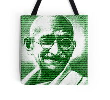 Mahatma Gandhi portrait with green  background  Tote Bag