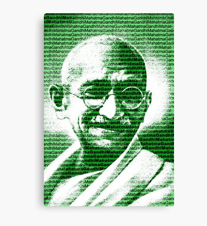 Mahatma Gandhi portrait with green  background  Canvas Print