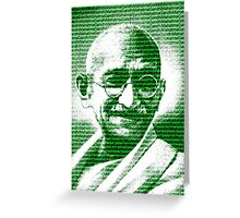 Mahatma Gandhi portrait with green  background  Greeting Card