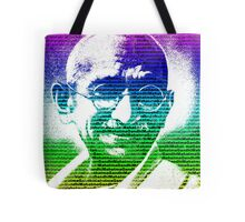 Mahatma Gandhi portrait with multicolour background  Tote Bag