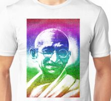 Mahatma Gandhi portrait with multicolour background  Unisex T-Shirt