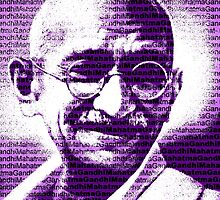 Mahatma Gandhi portrait with purple background  by yin888