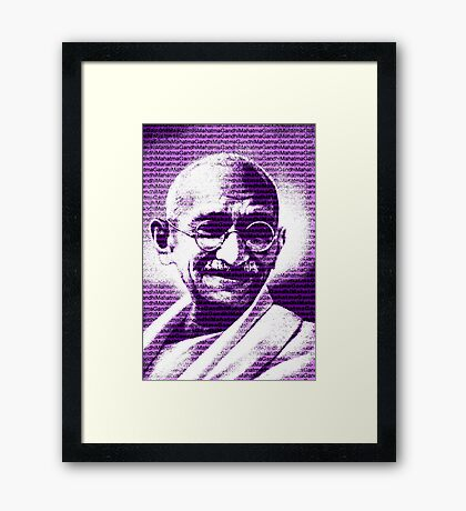Mahatma Gandhi portrait with purple background  Framed Print