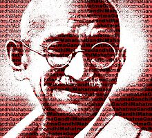 Mahatma Gandhi portrait with red background  by yin888