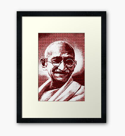 Mahatma Gandhi portrait with red background  Framed Print