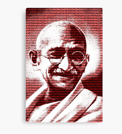 Mahatma Gandhi portrait with red background  Canvas Print