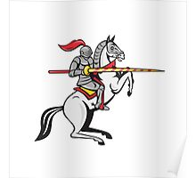 Knight Lance Steed Prancing Isolated Cartoon Poster