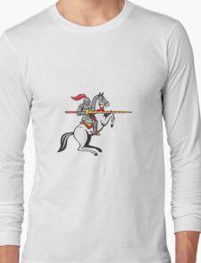 Knight Lance Steed Prancing Isolated Cartoon Long Sleeve T-Shirt