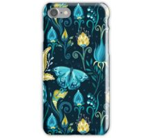Floral blue pattern with butterfly iPhone Case/Skin