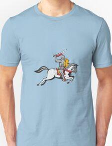 Knight Sword Shield Steed Attacking Cartoon T-Shirt