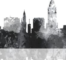 Lincoln, Nebraska Skyline - Black and White Sticker