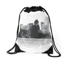 Los Angeles, California Skyline - Black and White Drawstring Bag