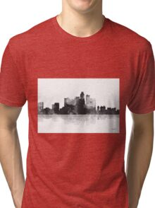 Los Angeles, California Skyline - Black and White Tri-blend T-Shirt