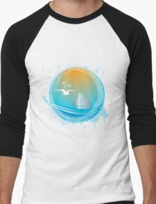 Abstract seaside landscape Men's Baseball ¾ T-Shirt