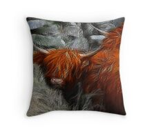 Fractalius Bulls #2 Throw Pillow
