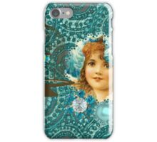 Vintage Girl Teal Rhinestone Circles iPhone Case/Skin