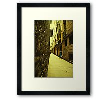 I dreamt about a narrow street where i could find you. You were not there. Instead i found myself. Framed Print