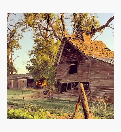 Rustic abandoned red barn at sunset Photographic Print