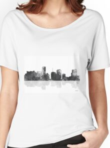 Miami, Florida Skyline - Black and White Women's Relaxed Fit T-Shirt