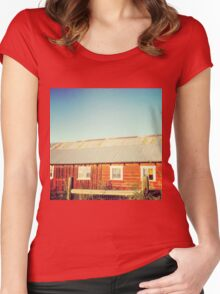Rustic red barn at sunset Women's Fitted Scoop T-Shirt