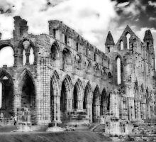 Whitby Abbey #2  B & W by Trevor Kersley