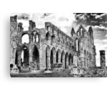 Whitby Abbey #2  B & W Canvas Print