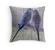 Long Tails - Blue Budgies Throw Pillow