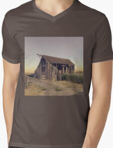 Rustic collapsing barn at sunset Mens V-Neck T-Shirt