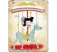 Carousel ribbon striped circus lighting bugs colorful whimsical streaks magic vintage ride doll print  iPad Case/Skin