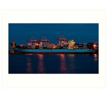 Cargo ship on loading in the port Art Print