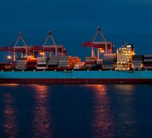 Cargo ship on loading in the port by Dfilyagin