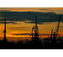 Silhouettes of cranes in the port Photographic Print