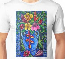 tropical flowers in blue vase  Unisex T-Shirt