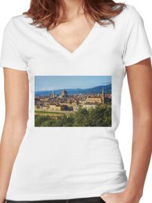 Impressions Of Florence - a View From the Top Women's Fitted V-Neck T-Shirt