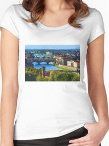 Impressions Of Florence - Long Blue Shadows on the Arno River Women's Fitted Scoop T-Shirt
