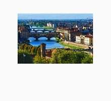 Impressions Of Florence - Long Blue Shadows on the Arno River Unisex T-Shirt