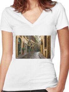 Impressions Of Florence - Walking on the Silver Street in the Rain Women's Fitted V-Neck T-Shirt