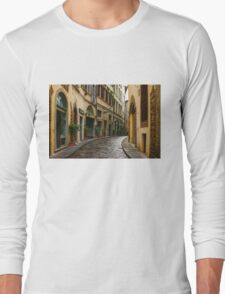 Impressions Of Florence - Walking on the Silver Street in the Rain Long Sleeve T-Shirt
